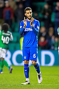 Connor Goldson (#6) of Rangers FC applauds the Rangers fans at the final whistle of the Ladbrokes Scottish Premiership match between Hibernian and Rangers at Easter Road, Edinburgh, Scotland on 8 March 2019.