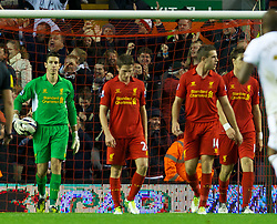 31.10.2012, Anfield, Liverpool, ENG, FA Cup, FC Liverpool vs Swansea City, 4. Runde, im Bild Liverpool's goalkeeper Brad Jones, Joe Allen and Jordan Henderson looks dejected after conceding the first goal against Swansea City // during English FA Cup 4th round match between Liverpool FC and Swansea City AFC at the STADION, STADT, Great Britain on 2012/10/31. EXPA Pictures © 2012, PhotoCredit: EXPA/ Propagandaphoto/ David Rawcliffe..***** ATTENTION - OUT OF ENG, GBR, UK *****