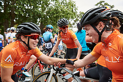 Chloe Hosking (AUS) and Heidi Franz (USA) joke about the final kilometres of Stage 1 of 2020 Santos Women's Tour Down Under, a 116.3 km road race from Hahndorf to Macclesfield, Australia on January 16, 2020. Photo by Sean Robinson/velofocus.com