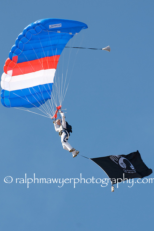 Parachute team participating in the 8th Annual  Moonlight Fund airshow in New Braunfels, Texas, October 20, 2007. Co-founded in 1998 by two burn survivors, Henry F. Coffeen III and Celia Jones, the Moonlight Fund is a Texas based organization providing support services for both civilian and military burn victims and their families.