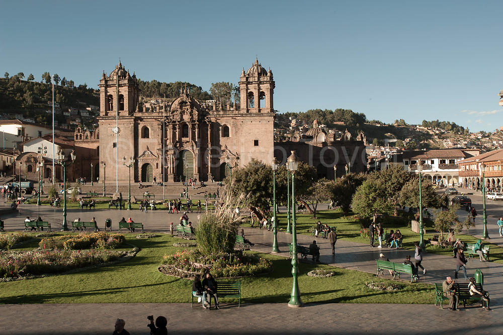 The Cathedral of Cusco view from one of the many restaurants on the first floor balconies of the square.