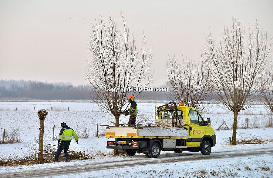 Nederland, Ubbergen, 22-1-2013Medewerkers van de gemeente snoeien wilgen langs een landweg.Foto: Flip Franssen/Hollandse Hoogte
