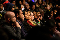 Members in the audience listen to a panel discussion during the Players Coalition Town Hall on Policing in the city, at Community College of Philadelphia, PA, on October 28 2019.