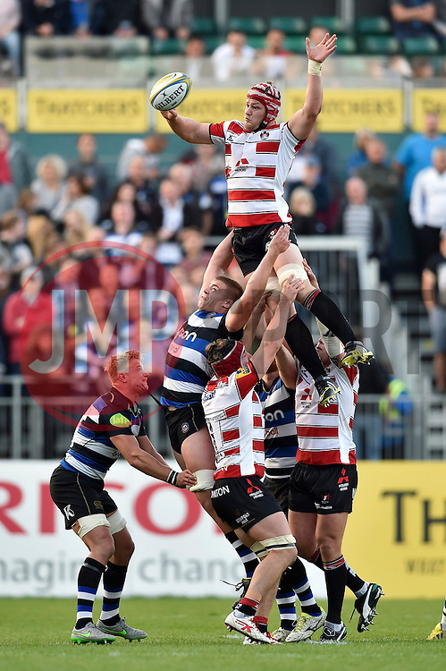 Tom Savage of Gloucester Rugby wins the ball at a lineout - Mandatory byline: Patrick Khachfe/JMP - 07966 386802 - 26/09/2015 - RUGBY UNION - The Recreation Ground - Bath, England - Bath Rugby v Gloucester Rugby - West Country Challenge Cup.