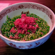 Chef Danny Bowien's restaurant, Mission Chinese, is photographed at its New York City location on the Lower East Side of Manhattan on Tuesday, July 31, 2012 in New York, NY. This is the Stir Fried Sweet Peas dish. .