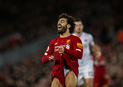 LIVERPOOL, ENGLAND - Thursday, January 2, 2020: Liverpool's Mohamed Salah reacts during the FA Premier League match between Liverpool FC and Sheffield United FC at Anfield. (Pic by David Rawcliffe/Propaganda)