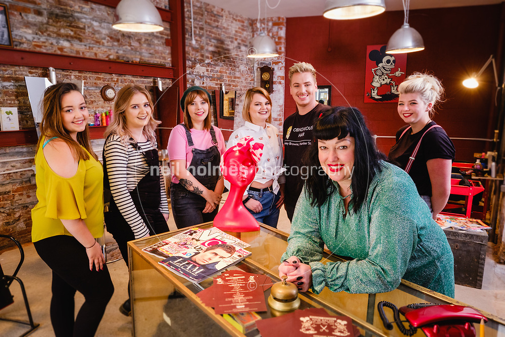 Humber Street, Kingston Upon Hull, East Yorkshire, United Kingdom, 04 July, 2017. Pictured: Owner Sarah Clayton with the Mousey Brown's team, from left, Amy Beacock, Kirsten Goodreid, Jesamine Ayre, Danielle Wilson, TJay Railton and Leonna Foley.