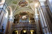 Hungary, Tihany, organ pipes inside the Abbey Church