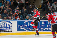 KELOWNA, CANADA - NOVEMBER 5: Tomas Soustal #15 of the Kelowna Rockets celebrates a first period goal against the Medicine Hat Tigers on November 5, 2016 at Prospera Place in Kelowna, British Columbia, Canada.  (Photo by Marissa Baecker/Shoot the Breeze)  *** Local Caption ***