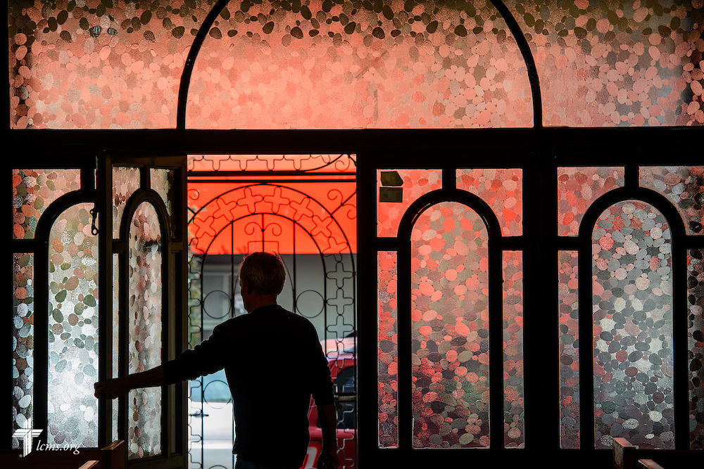 The doors to the Lutheran Church of San Pedro are opened before worship on Sunday, Feb. 14, 2016, in Mexico City, Mexico. LCMS Communications/Erik M. Lunsford