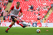 Southampton midfielder Oriol Romeu (14) warming up prior to the The FA Cup match between Chelsea and Southampton at Wembley Stadium, London, England on 22 April 2018. Picture by Toyin Oshodi.