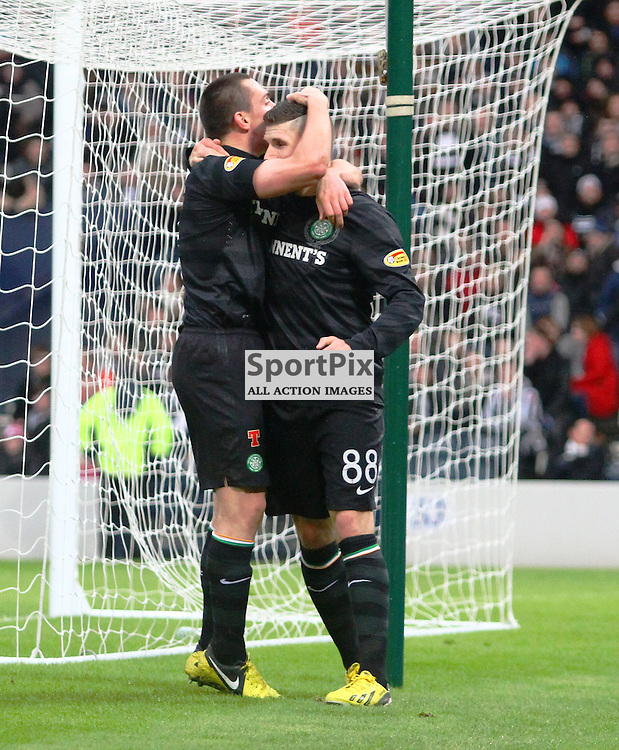 Gary Hooper Celtic and Scott Brown celtic  scores the equalising goal for celtic against st mirren in the scottish communities league cup semi final at hampden stadium picture kevin mcglynn