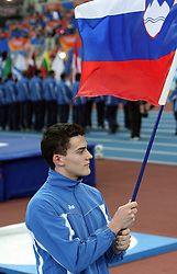 Slovenian flag at the Opening ceremony at the 1st day of  European Athletics Indoor Championships Torino 2009 (6th - 8th March), at Oval Lingotto Stadium,  Torino, Italy, on March 6, 2009. (Photo by Vid Ponikvar / Sportida)