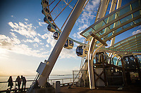 Seattle, Washington- September 30, 2014: The 175-foot Seattle Great Wheel opened in 2012 and offers spectacular views of Elliott Bay and the Seattle skyline. It is the largest observation wheel on the west coast. CREDIT: Chris Carmichael for the New York Times