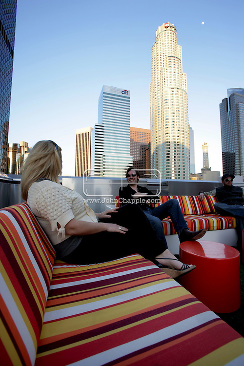 16th February 2008, Los Angeles, California. The roof bar at The Standard Hotel in the downtown area of Los Angeles..PHOTO © JOHN CHAPPLE / REBEL IMAGES.john@chapple.biz    www.chapple.biz