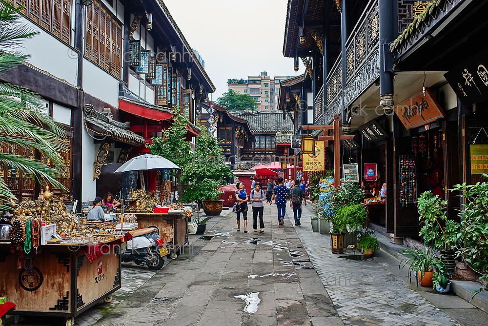 Chengdu, China - September 19, 2014: tourists people Wenshu monastery pedestrian area in Chengdu Sichuan China