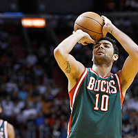 22 January 2012: Milwaukee Bucks small forward Carlos Delfino (10) is seen at the free throw line during the Milwaukee Bucks 91-82 victory over the Miami Heat at the AmericanAirlines Arena, Miami, Florida, USA.