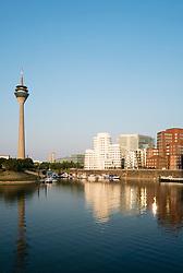 Neuer Zollhof buildings designed by Frank Gehry in Medienhafen in Dusseldorf Germany