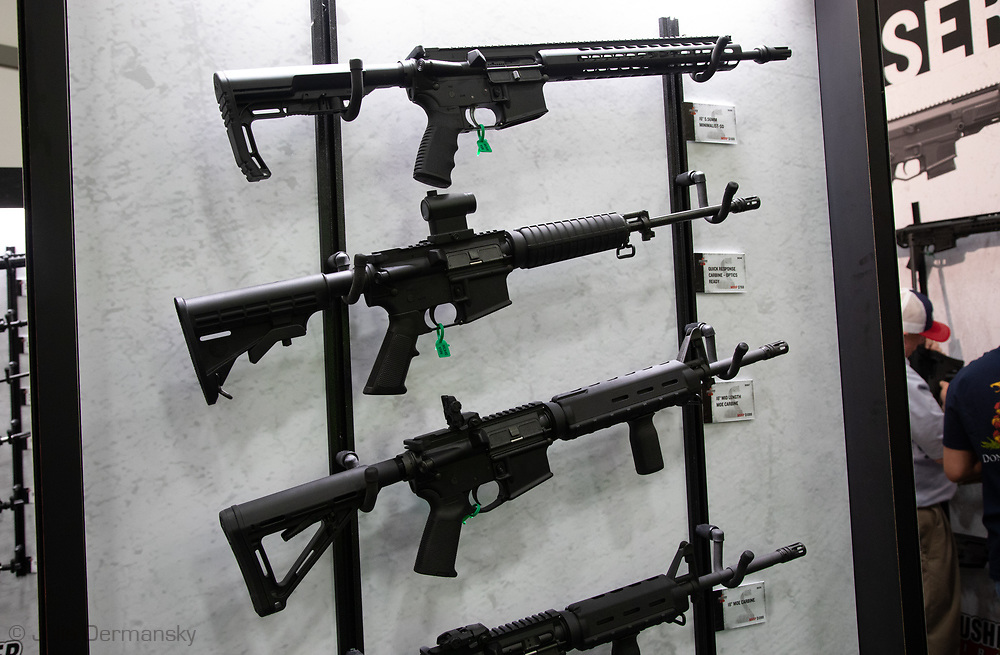 Bushmaster firearms display  at the the NRA Annual Meeting & Exhibits at the Kay Bailey Hutchison Convention Center on May 5, 2018 in Dallas.
