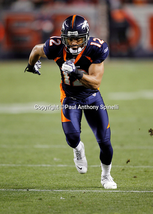 Denver Broncos wide receiver Matt Willis (12) goes out for a pass during the NFL week 11 football game against the New York Jets on Thursday, November 17, 2011 in Denver, Colorado. The Broncos won the game 17-13. ©Paul Anthony Spinelli