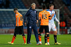 Brighton Manager Sami Hyypia thanks his players after the match ends in a 1-1 draw - Photo mandatory by-line: Rogan Thomson/JMP - 07966 386802 - 21/10/2014 - SPORT - FOOTBALL - Huddersfield, England - The John Smith's Stadium - Huddersfield Town v Brighton & Hove Albion - Sky Bet Championship.