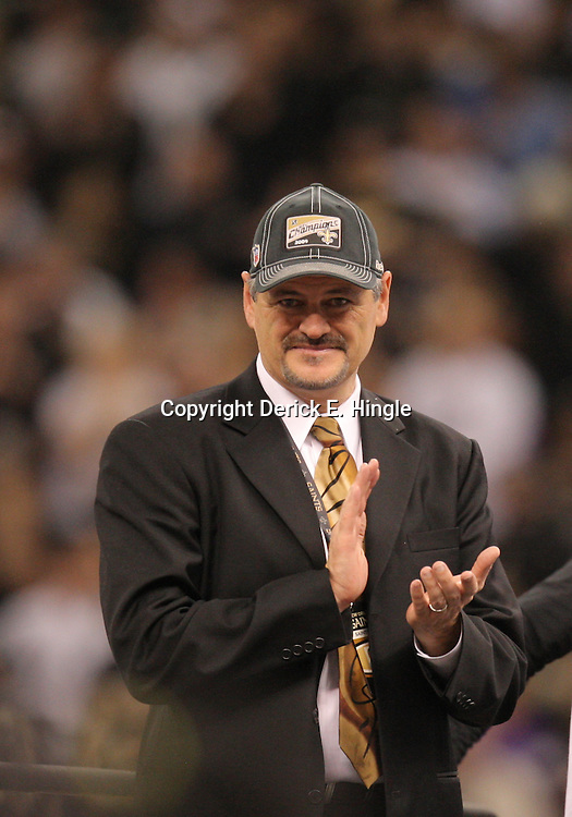 Jan 24, 2010; New Orleans, LA, USA; New Orleans Saints general manager Mickey Loomis celebrates following a 31-28 overtime victory by the New Orleans Saints over the Minnesota Vikings in the 2010 NFC Championship game at the Louisiana Superdome. Mandatory Credit: Derick E. Hingle-US PRESSWIRE