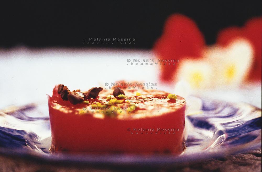 watermelon jelly, typical Sicilian dessert.<br /> Gelatina di anguria chiamata gelo di mellone, un dessert tipico della cucina siciliana.
