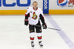 Jan 19, 2012; San Jose, CA, USA; Ottawa Senators defenseman Sergei Gonchar (55) warms up before the game against the San Jose Sharks at HP Pavilion. Ottawa defeated San Jose 4-1. Mandatory Credit: Jason O. Watson-US PRESSWIRE