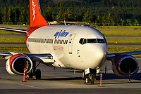 C-FANF awaits the next flight in the last rays of the Yukon sunset