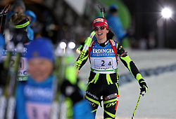 04.01.2012, DKB-Ski-ARENA, Oberhof, GER, E.ON IBU Weltcup Biathlon 2012, Staffel Frauen, im Bild Sophie Boilley (FRA) kommt im Ziel an , 3. Platz für Frankreich .// during relay Ladies of E.ON IBU World Cup Biathlon, Thüringen, Germany on 2012/01/04. EXPA Pictures © 2012, PhotoCredit: EXPA/ nph/ Hessland..***** ATTENTION - OUT OF GER, CRO *****