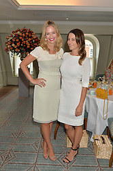 Left to right, MARISSA HERMER and JULIET ANGUS at a breakfast hosted by Halcyon Days at Fortnum & Mason, 181 Piccadilly, London on 8th July 2014.