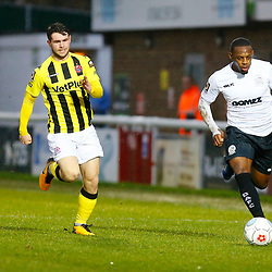 Dover's midfielder Anthony Jeffrey makes a run down the wing during the National League match between Dover Athletic FC and AFC Flyde at Crabble Stadium, Kent on 08 December 2018. Photo by Matt Bristow.