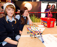 Maya Skzyszenoska and Aine Rooney with SPIKES from Croi Naofa Athenry who took part in the  Medtronic Knex Challenge at the Radisson blu Hotel.  Medtronic KNEX Challenge is for  primary school children completing  exceptional tasks which will be judged on the level of engineering, innovation and communication displayed by the teams.. .The final event of the week is the Medtronic  Junior FIRST LEGO League challenge on THURSDAY. This is the second year The Galway Education Centre has hosted this competition - one of only six countries in the world who do so. Following the success of last year, over 500 school children from all over the country are expected to come along and practice their robotics, presentation and teamwork skills live on the night!. .Bernard Kirk, Director of The Galway Education Centre says; ?Working on this three day event every year is fun and exciting and always surprising. The talent, instinct and drive we discover in these young children is an inspiration to all of us. We look forward to the continued success of all of our challenges which would not be possible without the support of companies like Medtronic, SAP, HP and LEGO?.. .All of these events are open to the public and free admission. They will also be streamed live on line at www.galwayeducationcentre.ie. Photo:Andrew Downes.