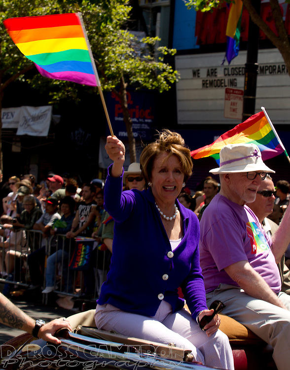 U.S. Rep. Nancy Pelosi (D-San Francisco), left, acknowledges the cheers of the crowd at the 43rd annual San Francisco Pride parade, Sunday, June 30, 2013 in San Francisco. (Photo by D. Ross Cameron)