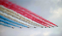 The RAF Red Arrows, This Year is their 50th Aniversary, to mark the occasion with the new tail fin design.  The Duxford Air Show, 14th September 2014