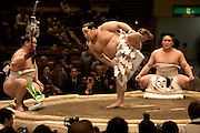 "ASASHORYU - SUMO wrestler with the highest rank of ""YOKOZUNA"", on the sumo ring of the TOKYO kyokai (sumo stadium), demonstrating sumo moves while wearing his ceremonial uniform, as part of the retirement ceremony of the wrestler Toki. Tokyo 27 January 2007"