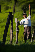 Rancher José Angel Galaviz Carrillo repairs barbed wire fences at his ranch in the Sierra Mountains near Maycoba, in the Mexican state of Sonora.  (José Angel Galaviz Carrillo is featured in the book What I Eat: Around the World in 80 Diets.) MODEL RELEASED.