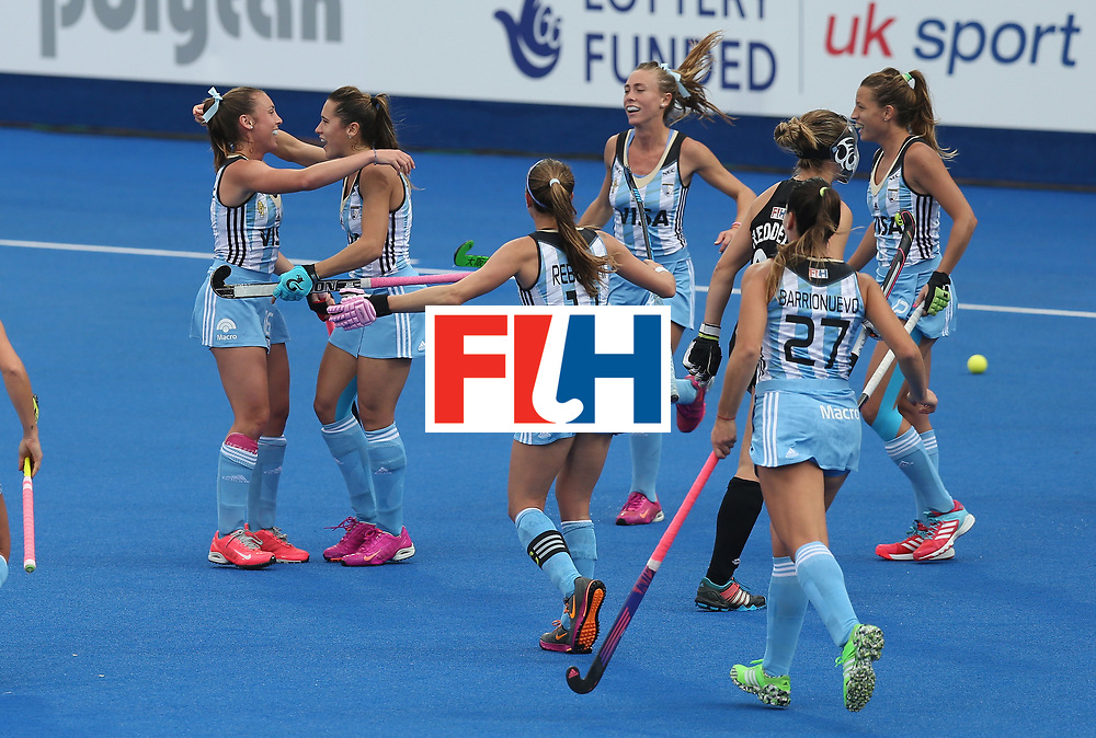 LONDON, ENGLAND - JUNE 23:  Florencia Habif of Argentina celebrates after scoring their first goal during the FIH Women's Hockey Champions Trophy match between Argentina and New Zealand at Queen Elizabeth Olympic Park on June 23, 2016 in London, England.  (Photo by Alex Morton/Getty Images)