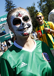 July 2, 2018 - Moscow, Russia - Supporters at Fan Zone - FIFA World Cup Russia 2018.Mexico supporters at Fifa Fan Zone in Moscow, Russia on July 2, 2018. (Credit Image: © Matteo Ciambelli/NurPhoto via ZUMA Press)