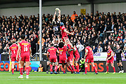 Don Armand of Exeter Chiefs leaps up to catch a line out but it goes through his hands during the Aviva Premiership match between Exeter Chiefs and Harlequins at Sandy Park, Exeter, United Kingdom on 19 November 2017. Photo by Graham Hunt.
