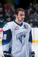 KELOWNA, CANADA - DECEMBER 3: Brett Stovin #38 of Saskatoon Blades lines up against the Kelowna Rockets on December 3, 2014 at Prospera Place in Kelowna, British Columbia, Canada.  (Photo by Marissa Baecker/Shoot the Breeze)  *** Local Caption *** Brett Stovin;
