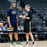 02 April 2017:  Utah Jazz center Boris Diaw (33) talks to San Antonio Spurs assistant coach Chip Engelland prior to the San Antonio Spurs 109-103 victory over the Utah Jazz, at the AT&T Center, San Antonio, Texas, USA.