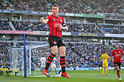 GOAL - 0-1 Southampton midfielder Pierre-Emile Hojbjerg (23) celebrates in mid air during the Premier League match between Brighton and Hove Albion and Southampton at the American Express Community Stadium, Brighton and Hove, England on 30 March 2019.