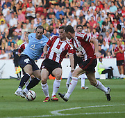 Dundee's Gary Harkins takes on Sheffield United's Harrison McGahey and Neill Collins - Sheffield United v Dundee, pre season friendly at Bramall Lane<br /> <br />  - &copy; David Young - www.davidyoungphoto.co.uk - email: davidyoungphoto@gmail.com