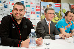 Boris Denic, Franjo Bobinac and Uros Zorman at press conference of Slovenian Handball Men National Team, on January 13, 2011, in Zrece, Slovenia. (Photo by Vid Ponikvar / Sportida)