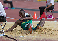 Athletics - 2017 IAAF London World Athletics Championships - Day One<br /> <br /> Event: Men's Long Jump Qualifying<br /> <br /> Luvo Manyonga smiles as he lands his qualifying jump  <br /> <br /> COLORSPORT/DANIEL BEARHAM