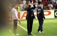 Fotball<br /> Norge<br /> 26.05.2012<br /> Norge v England 0:1<br /> Foto: Morten Olsen, Digitalsport<br /> <br /> Steven Gerrard - Roy Hodgson / England og Egil Olsen - trener Norge