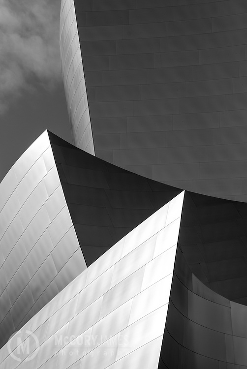Black and white photograph of Disney Concert Hall in Los Angeles, California.  Designed by architect Frank Gehry.