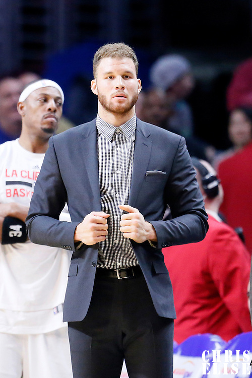 10 January 2016: Los Angeles Clippers forward Blake Griffin (32) is seen on the bench during the Los Angeles Clippers 114-111 overtime victory over the New Orleans Pelicans, at the Staples Center, Los Angeles, California, USA.