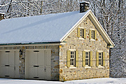 Winter Snow, Berks Co., PA Scene, Historic Stone Garage near Gring's Mill